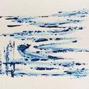"""""""Víz-víz""""- festmény, Képzőművészet, Dekoráció, Otthon, lakberendezés, Festmény, 11x15  cm-es akril festmény.  Ecsettel és festőkéssel készült. Eredeti, egyedi festmény, adott pilla..., Meska"""