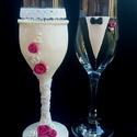 Menyasszony és Vőlegény pezsgős poharak, Esküvő, Esküvői dekoráció, , Meska