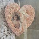 Vintage szív hölgyel., Dekoráció, Otthon, lakberendezés, A klasszikus szív.  Egy kicsit nagyobb szív alapot készítettem ezt falra is lehet helyezni nem csak ..., Meska