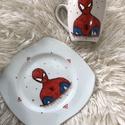 pókemberes bögre és tányér, Gyerek & játék, Kézzel festett bögre és tányér! A festék mosogatógép álló,alacsony hőfokon! Mérete: Tányér;18cm Bögr..., Meska