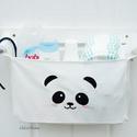 Fali tároló 1 rekeszes Hófehér lenvászon hímzett panda mintával, Otthon, lakberendezés, Baba-mama-gyerek, Gyerekszoba, Fali tároló | 1 rekeszes | Hófehér lenvászon | Hímzett panda mintával  Falra szerelhető, fali tároló..., Meska
