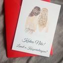 Rajzolt koszorúslány-felkérő kártya borítékkal, tanúfelkérő, esküvőre, Rajzolt koszorúslány-felkérő kártya boríték...
