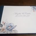 A/5-ös, A/4-es esküvői vendégkönyv, fotókönyv bulira, partyra, kék-rózsaszín mintával, Egyedi borítójú A/5-ös vagy A/4-es vendégkön...