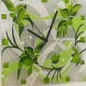 Green and grey, Otthon, lakberendezés, Falióra, óra, Méret:24x24cm Halk járású német óraszerkezettel, üveg kaboson díszítéssel.  Ez a falióra ..., Meska