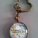 Kulcstartó térképpel, Mindenmás, Kulcstartó, Antikolt bronz üveglencsés kulcstartó.  Az üveglencse mérete: 30mm   5000Ft feletti rendelés e..., Meska
