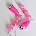 Rózsaszín feltűnés, Ékszer, Fülbevaló, A fülbevalót egy igen feltűnő, mozgó (pink) rózsaszínű, csepp alakú teklagyöngyből, és s..., Meska
