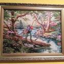 A horgász, Dekoráció, Otthon, lakberendezés, Gobelin, Falikép, Varrás, Hímzés, A gobelin egy horgászt ábrázol tavasszal, a fák között. Gobelin varrással, balról jobbra dőlő techn..., Meska