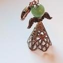 Bronz angyalka kulcstartó, Ékszer, Mindenmás, Kulcstartó, Mobilékszer, Ékszerkészítés, A kulcstartót egy bronz színű, nikkelmentes fém szoknyácskából, bronz színű angyalszárnyból, és egy..., Meska