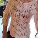 Tavaszi kötött csipke pulóver, Ruha, divat, cipő, Női ruha, Felsőrész, póló, Blúz, A tavaszi csipke pulcsi törtfehér színű, Alize tweed fonalból készült. Apró színes (piros-kék-zöld-s..., Meska