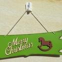Merry Christmas - antikolt zöld karácsonyi tábla, Dekoráció, Otthon, lakberendezés, Dísz, Ajtódísz, kopogtató, Festett tárgyak, Mindenmás, Régi idők hangulatát igyekeztem megidézni ezzel a karácsonyi táblával, mind színvilágával, mind az ..., Meska