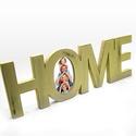 HOME felirat fényképtartóval, Dekoráció, Otthon, lakberendezés, Dísz, Kép, Dekoráld otthonodat ezzel a mutatós HOME táblával, melynek különlegessége, hogy fényképet is helyezh..., Meska