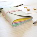 ' Szivárvány ' Napló / Journal A6, Naptár, képeslap, album, Jegyzetfüzet, napló, Bőrművesség, Könyvkötés, Ez a gyönyörű színes napló csak arra vár, hogy megtöltsd a gondolataiddal!  Belül színes, szivárván..., Meska