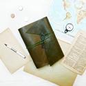 ' Viking ' Antik Bőr Napló - Szimbólummal, Naptár, képeslap, album, Jegyzetfüzet, napló, Bőrművesség, Könyvkötés, Antik stílust kedvelőknek!   Az első oldalon egy Viking jelképpel: -  neve Vegvisir - Viking Irányt..., Meska
