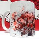 Absztrakt virágmintás bögre, Konyhafelszerelés, Képzőművészet, Bögre, csésze, Illusztráció, Fotó, grafika, rajz, illusztráció, Kerámia, Akvarell virágmintával ellátott egyedi vörös-rózsaszín-szürke színekben pompázó bögre. A bögrét egy..., Meska