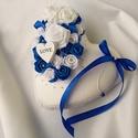Esküvőre/eljegyzésre királykék-fehér gyűrűpárna, Esküvő, Gyűrűpárna, Esküvői dekoráció, Nászajándék, Mindenmás, Varrás, Mindened a kék szín? Egyedi gyűrűpárnát keresel az esküvőtökre amint a nagy napot követően is boldo..., Meska
