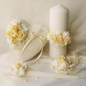 Egyedi, kézműves esküvői szett: gyűrűpárna+gyertyaszett+csuklószalag, Esküvő, Esküvői dekoráció, Gyűrűpárna, Nászajándék, Gold & Champagne szett:  A szett egy gyűrűpárnából, egy 3 darabos gyertyaszettből, és a kért..., Meska