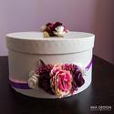 Egyedi lila-rózsaszín-fehér esküvői pénzgyűjtő doboz, Esküvő, Esküvői dekoráció, Nászajándék, Mindenmás, Virágkötés, EGYEDI ESKÜVŐI PÉNZGYŰJTŐ DOBOZT KERESTEK?   Ez a különleges selyemvirágokkal és habrózsákkal díszí..., Meska