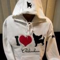 Hímzett I love Chihuahua feliratú pulóver, Hímzett Csivavás pulóver, kapucniján és bal u...