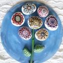 Színes virágzó kavicsok, Dekoráció, Otthon, lakberendezés, Dísz, Falikép, Festett tárgyak, Mozaik,  A virágzó kavicsok nem Csodaországban találhatók.... :-) Búzavirág színű akrilfestékkel alapozott ..., Meska