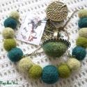 A zöld 50 árnyalata - nemez ékszer - ékszerszett - nyaklánc,  gyűrű, A zöld különböző árnyalatai ból készült n...