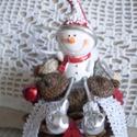 Karácsonyi toboz dekoráció cuki hóemberkével, Dekoráció, Karácsonyi, adventi apróságok, Ünnepi dekoráció, Karácsonyi dekoráció, Nagy méretű mammut toboz cuki kis hóemberkével, Meska