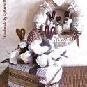 Vintage húsvéti ajtódísz, asztaldísz szett - vintage dekoráció - tavasz, Itt a tavasz, hamarosan érkezik a nyuszi is ... :...