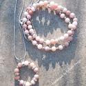 Perui gyöngyszemek - rózsaopál nyaklánc és karkötő szett -  ásvány ékszer szett - medál és karkötők - pinkopál, Ékszer, Ékszerszett, Karkötő, Nyaklánc, Gyönyörű pasztell színek! A Rózsaopál halvány rózsaszín színével népszerű féldrágakő. Egyetlen nagyo..., Meska