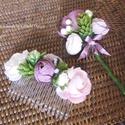 Esküvőre - esküvői kellékek - hajdísz - vőlegény kitűző, Esküvő, Hajdísz, ruhadísz, Esküvői dekoráció, A mályva az esküvői szezonban a divatos színek közé tartozik. Egy gyönyörű világos lila, enyhe szürk..., Meska