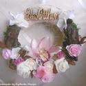 Flowery Home - Rózsaszín álom - ajtódísz, asztaldísz szett - virágos dekoráció - édes otthon, Otthon, lakberendezés, Dekoráció, Asztaldísz, Ajtódísz, kopogtató, Virágos rétek, zöldellő mezők... Ideje otthonod (a bejárati ajtód is) virágos díszbe öltöztetni!  Vi..., Meska