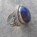 Az uralkodók köve - lápisz lazuli ezüst gyűrű - a kék kő, Ékszer, Ruha, divat, cipő, Gyűrű, Gyönyörű, lápisz lazulival ékesített ezüst gyűrű - 7,39 g. A gyűrű belső átmérője: 16 mm (kb 50-es m..., Meska