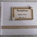 Esküvői vendégkönyv - emlékkönyv - Esküvői Emlékkönyv - könyv, Esküvő, Szerelmeseknek, Esküvői dekoráció, Nászajándék, Elegáns esküvői vendégkönyv. Díszített, feliratozott - a szerelmes pár keresztneveivel és a nagy nap..., Meska