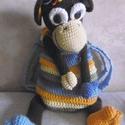 SZIVÁRVÁNY - Horgolt majmocska hátizsák, Gyerek & játék, Táska, Divat & Szépség, Baba-mama kellék, Táska, Hátizsák, Vidám szivárvány színű majmocska hátizsák. A teste (a pakolós rész) belseje színes állatfigurás pamu..., Meska