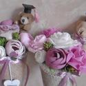 Macis virágcsokor - ballagási csokor - örökcsokor kicsiknek, nagyoknak - virágtölcsér - ballagási csokor, Cuki plüss macival, gyönyörű, élethű selyem ...