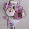 Örökcsokor - virágcsokor - virágtölcsér - Boglárka, Otthon & lakás, Egyéb, Esküvő, Dekoráció, Csokor, Rózsaszín, mályva és fehér színű, élethű selyem virágokkal és habrózsákkal díszített elegáns virágcs..., Meska