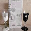 Esküvői pohár szett - Pezsgős pohár -  esküvői pohár - Festett pohár, Esküvő, Otthon & lakás, Esküvői dekoráció, Nászajándék, Egyedi, kézzel készített, festett, kontúrozott,  gyöngyökkel díszített pezsgős poharak nemcsak esküv..., Meska