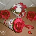 Hétpettyes katica - vörös rózsa box - virágtölcsér - katicás virágszett, Otthon & lakás, Dekoráció, Csokor, Lakberendezés, Kis katicás virágszett (virágtölcsér és box) vörös és fehér rózsákkal tűzdelve. Ideális ajándék névn..., Meska