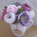 Egy bögre virág - virágos bögre, Otthon & lakás, Dekoráció, Csokor, Lakberendezés, Vidám hangulatú, élénk színekkel tarkított fehér porcelán bögre.  Névnapra, születésnapra... dekorác..., Meska