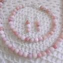 AKCIÓ! Rózsaopál (pink opál) ékszer szett - Peru gyöngyszemei - rózsaopál nyaklánc és karkötő szett -ásvány ékszer szett, Most FÉLÁRON! 6 mm-es rózsaopál (pinkopál, an...