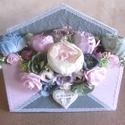 AKCIÓ! Vintage Home - Virágbox - Virágos levélbox - Édesotthon - Asztaldísz - Falidísz, Otthon & lakás, Dekoráció, Csokor, Dísz, Romantikus, nagy méretű virágbox. Saját készítésű, gyönyörű pasztell színűre festett borítékos láda ..., Meska