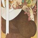 Hanga a parti szikláról, Otthon, lakberendezés, Alkotó: Alphonse Mucha Szecessziós stílusú üvegkép. A festékréteget beleégetem az üvegbe, ..., Meska