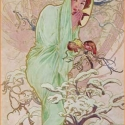 Tél, Otthon, lakberendezés, Üvegművészet, Alkotó: Alphonse Mucha Szecessziós stílusú üvegkép. A festékréteget beleégetem az üvegbe, ez tartós..., Meska