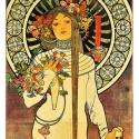 Alphonse Mucha - La_Trappistine, Otthon, lakberendezés, Üvegművészet, Alkotó: Alphonse Mucha Szecessziós stílusú üvegkép. A festékréteget beleégetem az üvegbe, ez tartós..., Meska