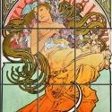 Kerámia mozaikkép (Alphonse Mucha) 60x90 cm, Dekoráció, Képzőművészet, Otthon, lakberendezés, Kép, Kerámia, Mozaik, Kerámia mozaikkép, 9db, 20x30 cm-es mozaikból összeillesztve. Tartós, égetett kivitel, nem sérüléke..., Meska
