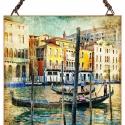 Venezia, Otthon, lakberendezés, Üvegművészet, Modern stílusú üvegkép. A festékréteget beleégetem az üvegbe, ez tartós, időtálló nyomatot eredmény..., Meska