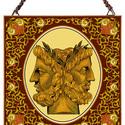 Janus, a kétarcú isten, Otthon, lakberendezés, Üvegművészet, Antik stílusú üvegkép. A festékréteget beleégetem az üvegbe, ez tartós, időtálló nyomatot eredménye..., Meska