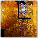 Falióra - Gustav Klimt - (Adele Bloch), Otthon, lakberendezés, Üvegművészet, Alkotó: Gustav Klimt Szecessziós stílusú üvegkép és falióra. A festékréteg be van égetve az üvegbe...., Meska