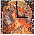 Falióra - Alfons Mucha, Otthon, lakberendezés, Falióra, Üvegművészet, Alkotó: Alfons Mucha Szecessziós stílusú üvegkép és falióra. Ceruzaelemmel működik, falra akaszthat..., Meska