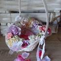 Romantikus Rusztikus esküvői koszorúslány sziromszóró kosár, Esküvő, Meghívó, ültetőkártya, köszönőajándék, Esküvői dekoráció, Esküvői csokor, Mindenmás, Festett tárgyak, Romantikus, Rusztikus stílusban készült ez az  esküvői koszorúslány sziromszóró kosár, mely az eskü..., Meska