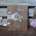"""Pajta rusztikus esküvői vendégköny jókívánság könyv fotóalbum, Esküvő, Nászajándék, Meghívó, ültetőkártya, köszönőajándék, Festett tárgyak, Mindenmás,    Az  """"Együtt"""" kollekció legelső darabja. Pajta, rusztikus, amerikai stílusban készült ez a csodás..., Meska"""