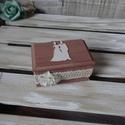 Gyűrűtartó rusztikus erdei esküvői gyűrűpárna fadoboz ékszerdoboz doboz ládika gyűrűpárna, Esküvő, Gyűrűpárna, Nászajándék, Meghívó, ültetőkártya, köszönőajándék, Festett tárgyak, Mindenmás, Tetszik a rusztikus stílus, akkor ez Neked készült!! Rusztikus, koptatott stílusban készült ez az  ..., Meska